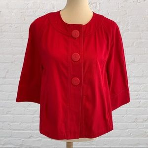 Chico's 3 Button Red 3/4 Sleeve Jacket Siz…